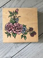 STAMPENDOUS WOOD RUBBER STAMP SARAH ROSE BOUQUET WO24