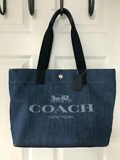 Coach #F67415 Blue Denim Logo Horse And Carriage Tote Bag Handbag Purse