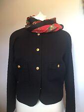 Vintage Ladies Black Classic Chanel Jacket - Timeless Wardrobe Staple Size 12/14