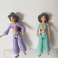 2 Vintage Disney Aladdin Princess Jasmine Mattel Doll Moveable Arms & Legs