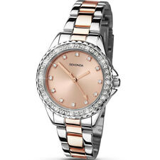 Sekonda Temptations Stone Set Rose Gold Dial 2 Tone Bracelet Ladies Watch 4254