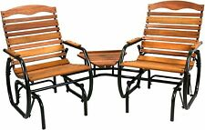 Outdoor Lounge Furniture Hard Wood Steel Frame Patio Set Glider Backyard Bench