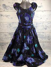 VTG Laura Ashley Woman's dress 14 fitted top full skirt Floral Garden Tea