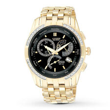 New Citizen Eco-Drive Calibre 8700 Diamond Gold Tone Steel Mens Watch BL8042-54E