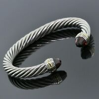David Yurman Jewlery 925 Silver 14K Gold Red Garnet 7mm Cable Classic Bracelet