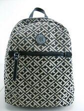 Tommy HILFIGER BLACK/Beige Signature Canvas Backpack Purse Handbag MSRP $88.00