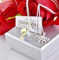 925 STERLING SILVER NECKLACE PENDANT CRYSTALS FROM SWAROVSKI® CUBE CRYSTAL AB