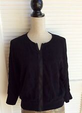 Marc Jacobs Cotton Chiffon Lace 3/4 Sleeve Zip Up Cardigan size L