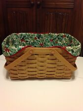Christmas Medium Market Basket Liner of Longaberger American Holly Fabric