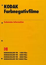 Kodak Farbnegativfilme VR 100 - 200 - 400 - 1000 - Kodak Datenblatt