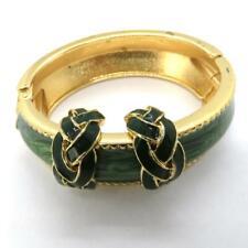 Bracelet Bangle Green Poured Enamel Gold Tone Hinged Jewelry Hoop Post Earrings