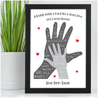 PERSONALISED Fathers Day Gifts for DADDY DAD GRANDAD HIM Hand on Hand Presents