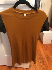 Maggie Ward Short Sleeve Shirt With Faux Leather Sleeves SZ S