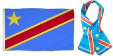"Wholesale Combo Set Democratic Congo Country 3x5 3'x5' Flag and 8""x60"" Scarf"