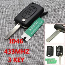 Remote Car Key Fob 3 Button 433MHz ID46 for Peugeot 207 207CC 307 308 0536 Model