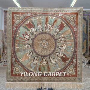 Yilong 4'x4' Square Handknotted Silk Carpet 13 Buddhist Saint Tapestry MC647H