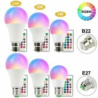 RGB Bulb Led Light B22 E27 16 Colour Changing Remote Control Bayonet Screw Lamp