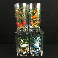 Set of 4 VTG 12oz Tumblers Indiana Glass 12 Days of Christmas Series Glasses 5-8