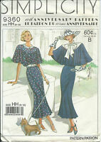 S 9360 sewing pattern DRESS vintage 30's Capelet flutter sleeves size 6-12 UNCUT