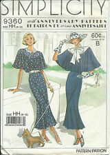 S 9360 sewing pattern DRESS vintage 30's Capelet retro flutter sleeves 6,8,10,12