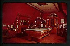 Sports postcard Mark Twain's House Billiard Room pool table New York