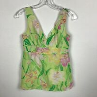 Lilly Pulitzer Tank Top Blouse Size 0 Silk Cotton Green Pink Floral Sleeveless