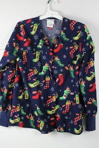 Christmas Stocking Lab Coat Medical Nurse Snap Front Long Sleeve UA Scrubs Med