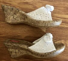 Women's 9.5 9 1/2 ESPRIT Cork Wedges White Eyelet Lace Sandals