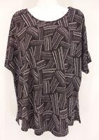 CATO Blouse Women's XL Black White Short Sleeve Stretch Shirt