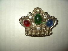 Vintage EMMONS Goldtone Red-Green-Blue-Clear Crystal & Pearl Crown Brooch Pin