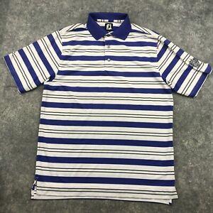 Footjoy Polo Shirt Mens Medium Blue Striped Short Sleeve Golf Stretch a9*