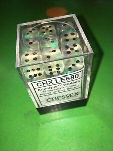 Chessex Aquerple W/Black 36 Borealis 12mm Pipped d6 Dice Block CHX LE680-Rare