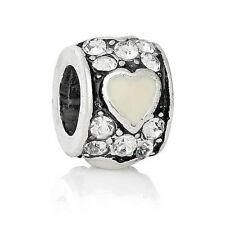 European Style Charm Bead antique silver white heart-Buy 15 get a FREE BRACELET