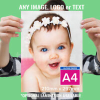 A4 Personalised Photo Print Laminated Picture Image Print Gift Poster Art 255gsm