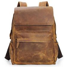 """Vintage Men's Leather Backpack Travel 15"""" Laptop Daypack Hiking Book School Bag"""
