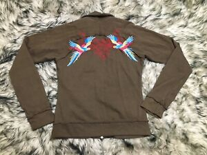 JWLA Johnny Was Zip Hoodie Jacket Embroidered Brown Birds Size Small S