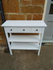 H80 W80 D30cm BESPOKE WHITE CONSOLE HALL BEDROOM TABLE 3 DRAWER 2 SHELVES