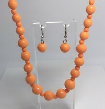 ORANGE ACRYLIC NECKLACE EARRINGS SET strand 18 INCH GRADUATED SUMMER 50'S RETRO