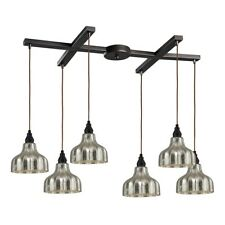 ELK Lighting Danica 008 6-Light H-Bar Pendant, Oiled Bronze/Mercury - 46008-6