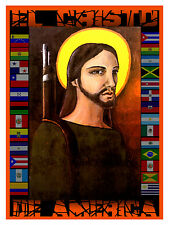 709.Political religious Design Poster.America's Christ.Flags.Cristo.Latin art