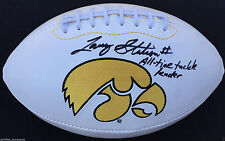 LARRY STATION SIGNED IOWA HAWKEYES LOGO FOOTBALL ALL TIME TACKLE LEADER PROOF K4