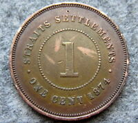 STRAITS SETTLEMENTS SINGAPORE MALAYSIA QUEEN VICTORIA 1874 ONE CENT
