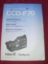 Sony Video Camera Recorder Instruction Manual 8 Ccd-F70