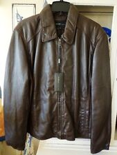 Jacket Coat Leather  Mens SZ XL NWT Marc New York by Andrew Marc Sherman Brown