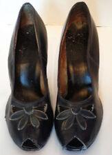 Vintage 40s 50s Navy Blue Leather Peep Toe Floral Vamp High Heel Shoes 8