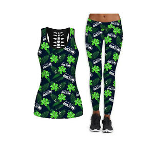 Seattle Seahawks 2PCS Women's Tank Tops Fitness Leggings Yoga Pant Sport Suit