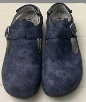Therafit Size 40 Melissa Mary Jane Blue Leather Slip-Resistant Clogs Shoes