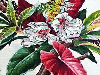 SALE! Hawaiian Orchids on White Barkcloth Vintage Fabric Drape Curtain PILLOWS
