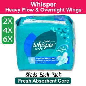 2x - 6x Whisper Heavy Flow & Overnight Pads Wing Sanitary Napkin Feminine 8 Pads
