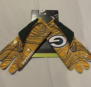 Nike NFL Vapor Jet 5.0 Green Bay Packers Football Gloves Men Size L NWT